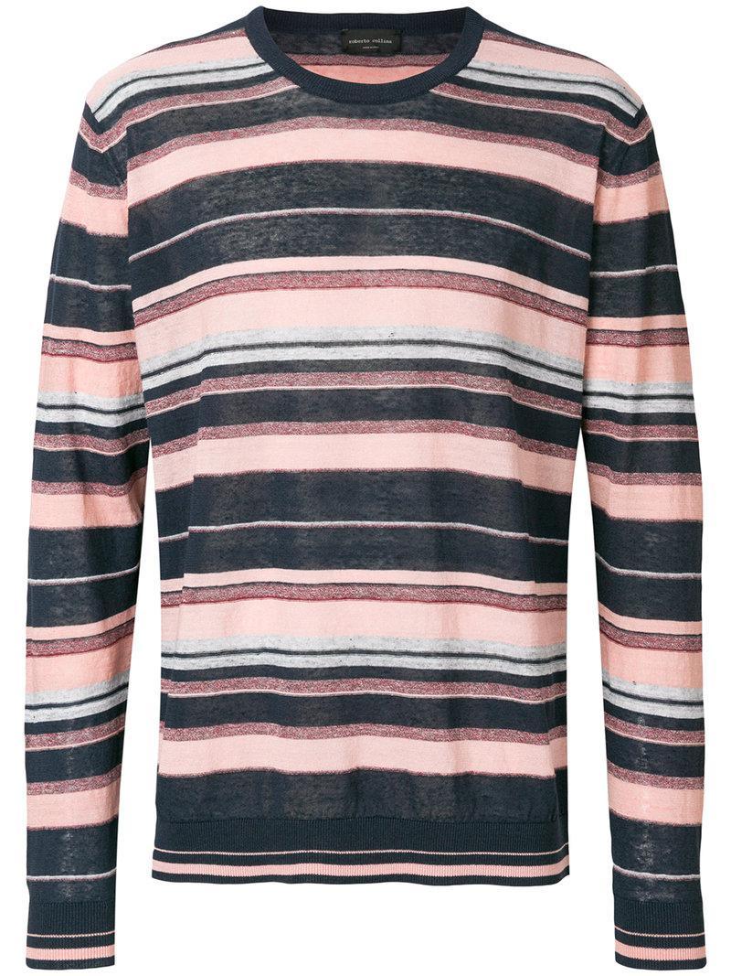 striped crew neck jumper - Multicolour Roberto Collina Finishline Cheap Online YUoE22
