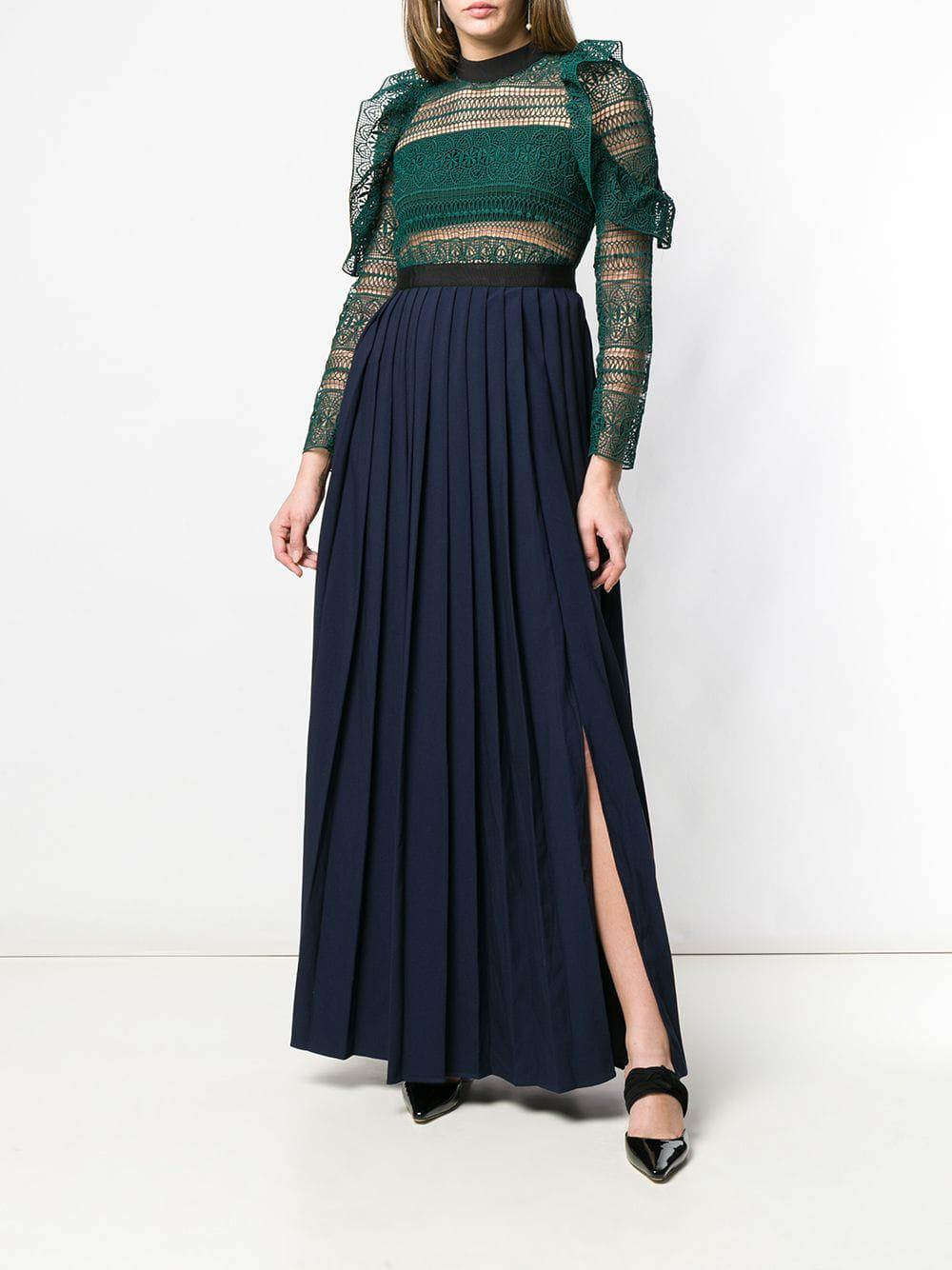 8d6c767a0cbee Self-Portrait Lace Pleated Evening Dress in Green - Lyst