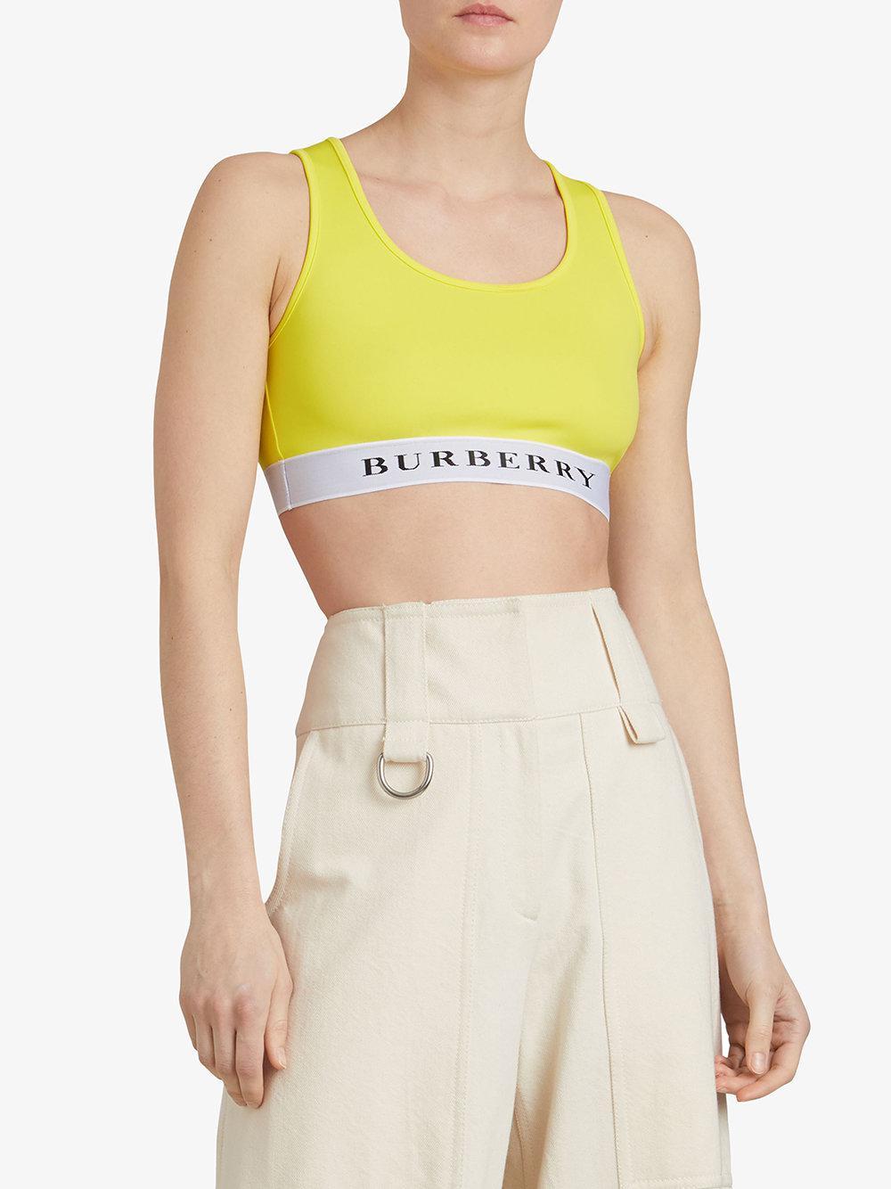 ca79504b10ed0 Burberry Betwa Logo Sports Bra in Yellow - Lyst