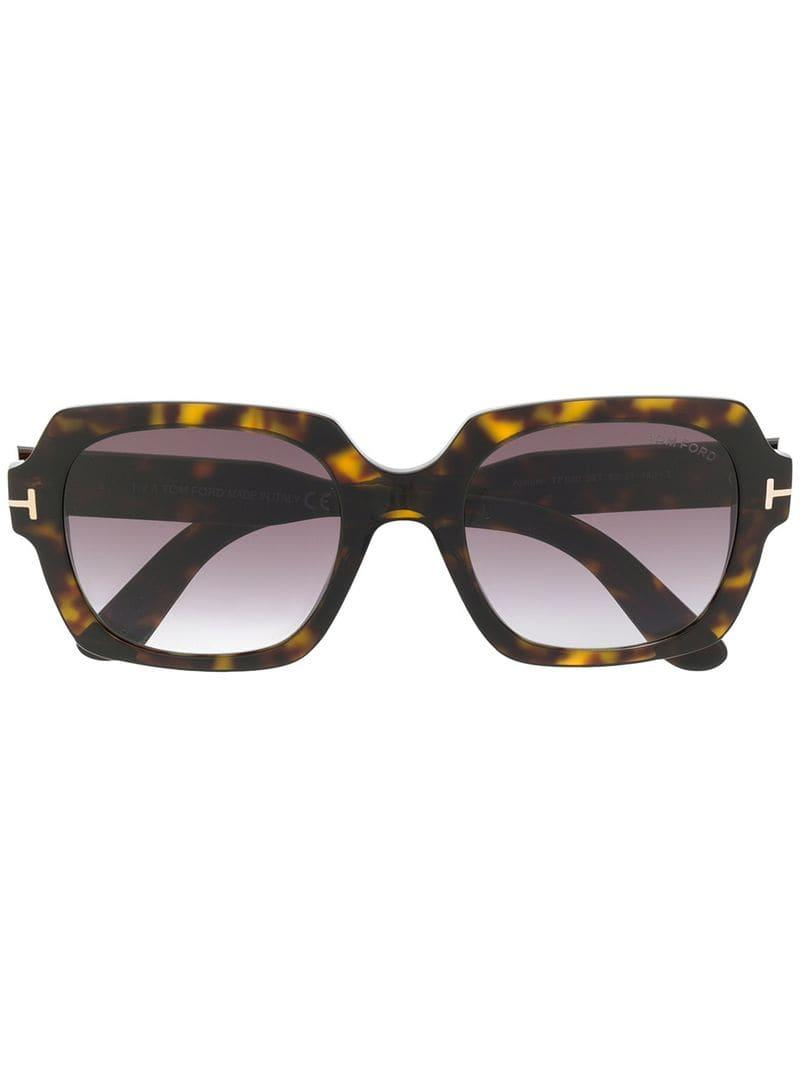 4f77251a0ef Tom Ford Oversized Tortoiseshell Sunglasses in Brown - Lyst