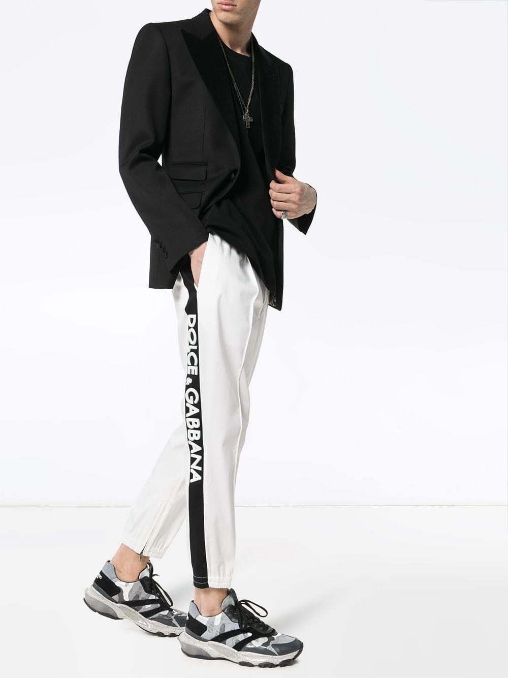 ac7f006dec7 Lyst - Dolce   Gabbana Drawstring Rubber Logo Cotton Blend Chino Trousers  in White for Men
