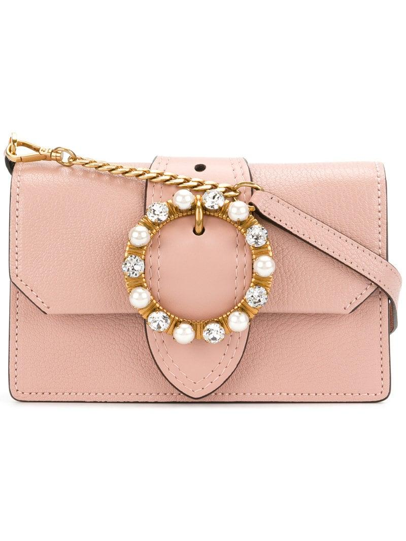 8f2ef8a1a4d34 Miu Miu Mini Pink Leather Crystal Buckle Miu Lady Bag in Pink - Lyst