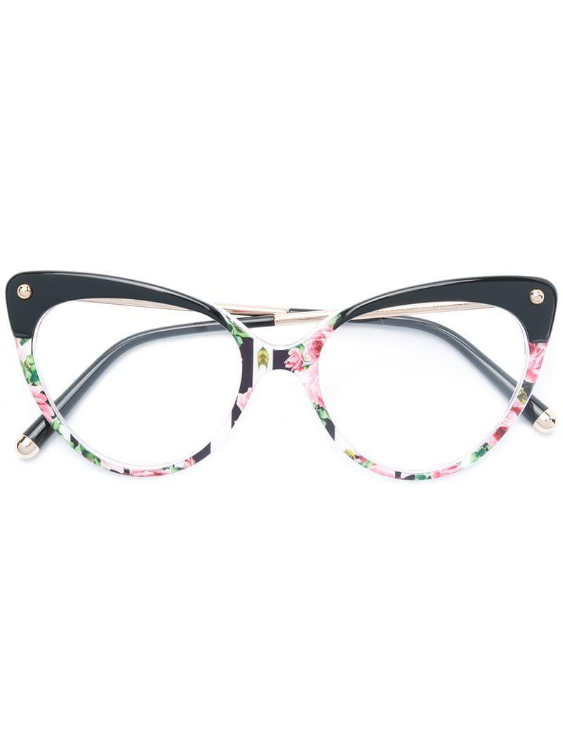 132da42aaf17 Dolce   Gabbana Cat-eye Floral Glasses in Black - Lyst