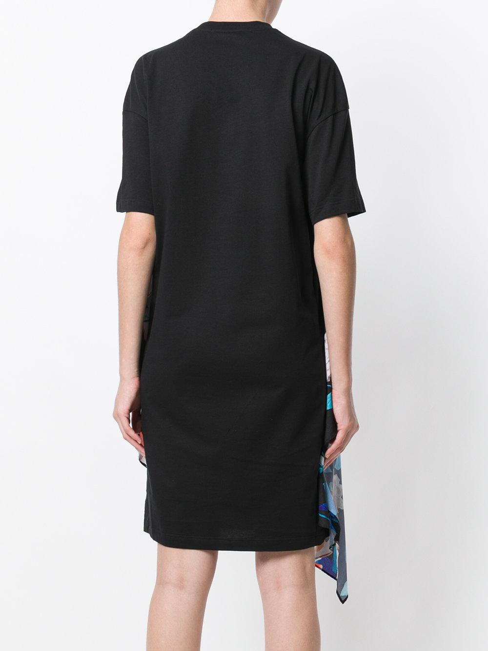 Lyst msgm floral detail logo t shirt dress in black for Logo t shirt dress