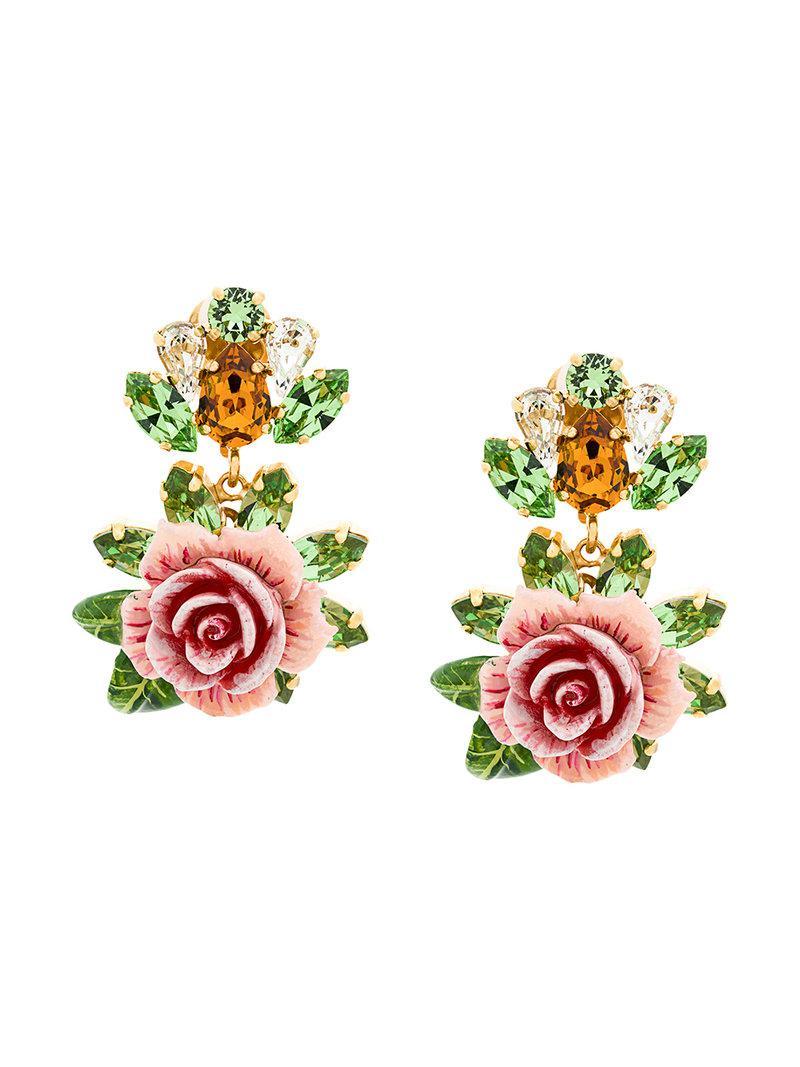 Rose Boucles D'oreilles Clip - Rose Et Violet Dolce & Gabbana Bv6hrXLEN