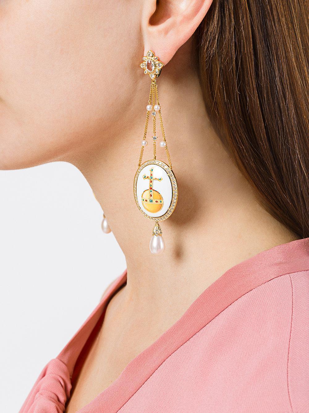 Axenoff Jewellery crown & sovereigns orb drop earrings - Metallic wuZBFN