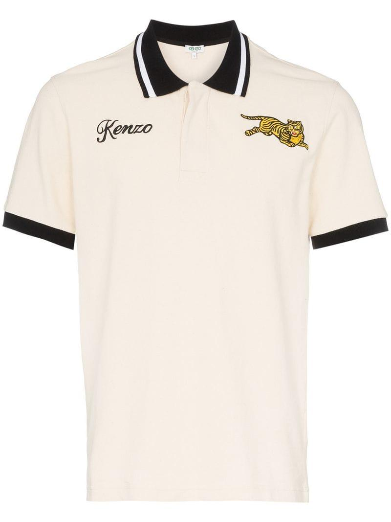 8304a566 KENZO - Multicolor Embroidered Jumping Tiger Contrast Trim Cotton Polo Shirt  for Men - Lyst. View fullscreen