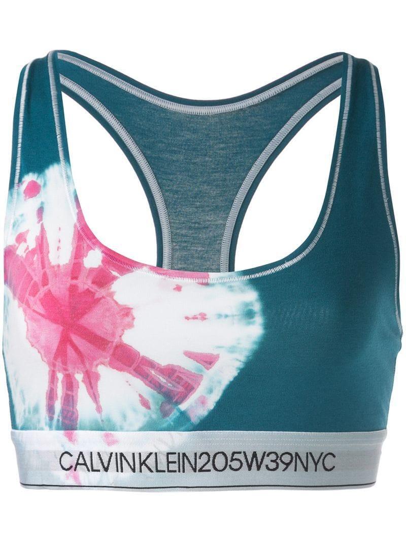 45332549e5 Lyst - Calvin Klein Tie Dye Sports Bra in Blue