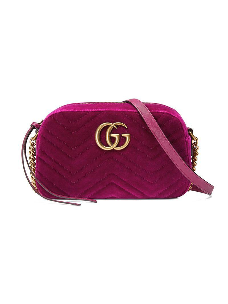 c1d5c5d1e9f Gucci GG Marmont Velvet Small Shoulder Bag in Pink - Lyst