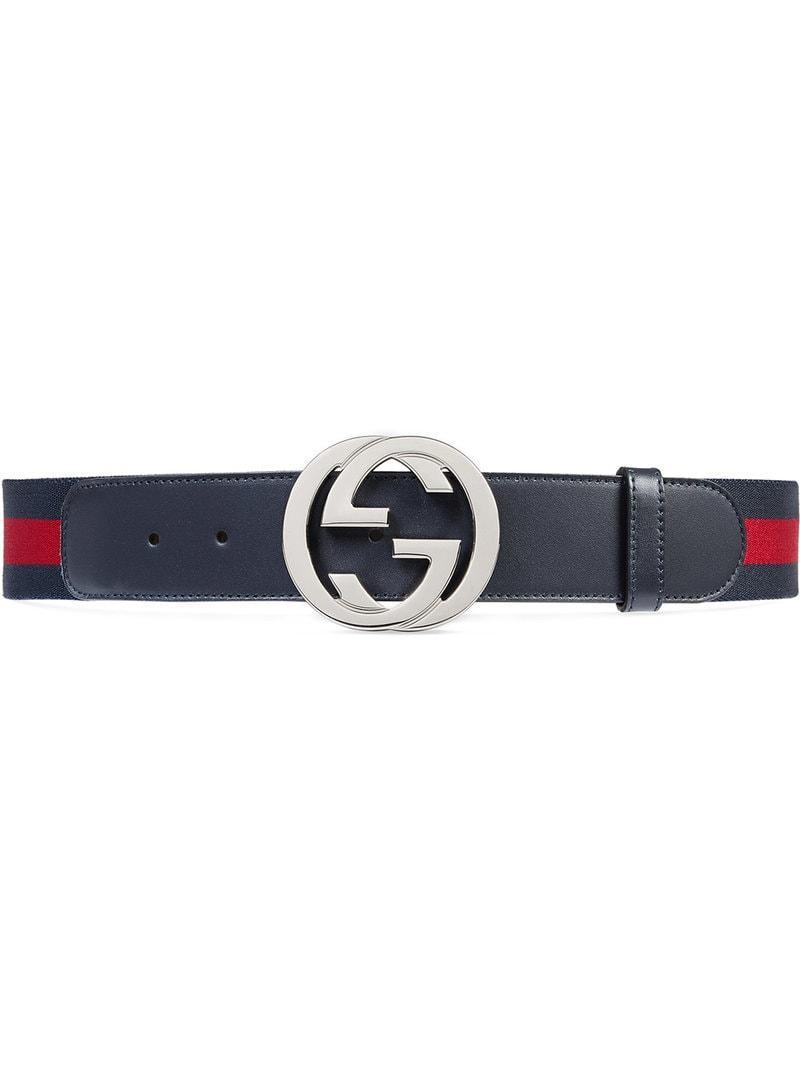 3dc626232ad1c Gucci - Blue Gürtel mit Webstreifen und GG Schnalle for Men - Lyst.  Vollbild ansehen