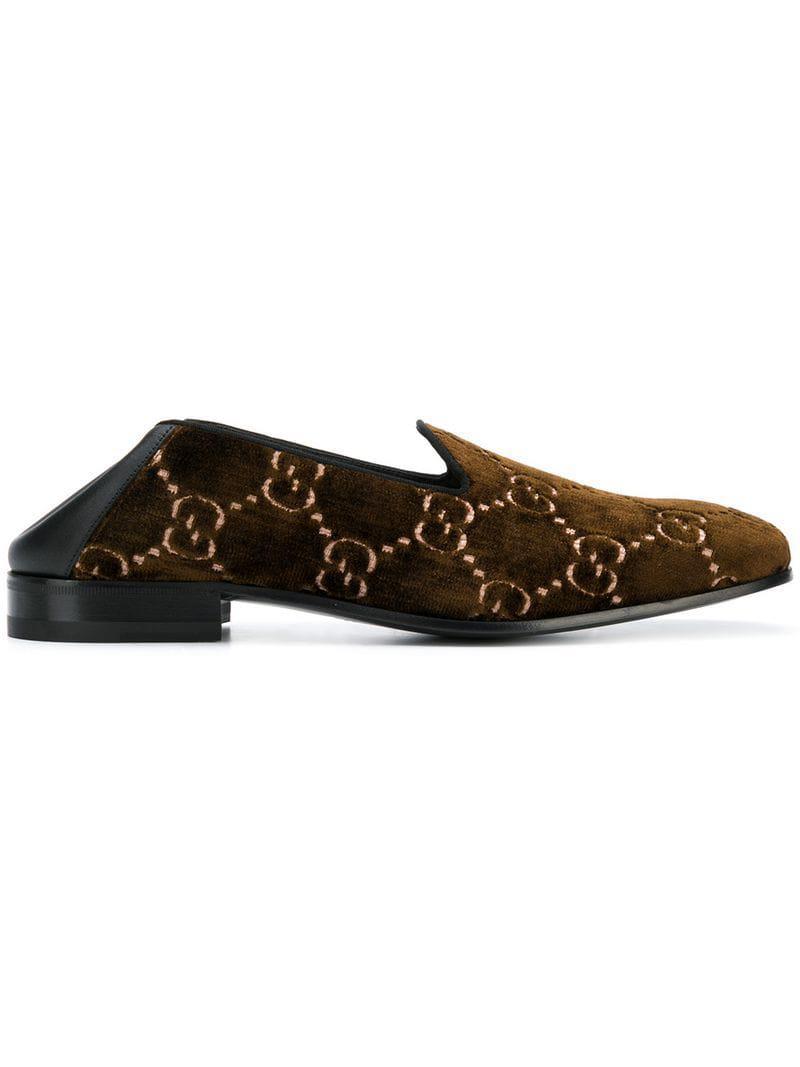 c923b2f2197 Gucci GG Velvet Loafers in Brown for Men - Lyst