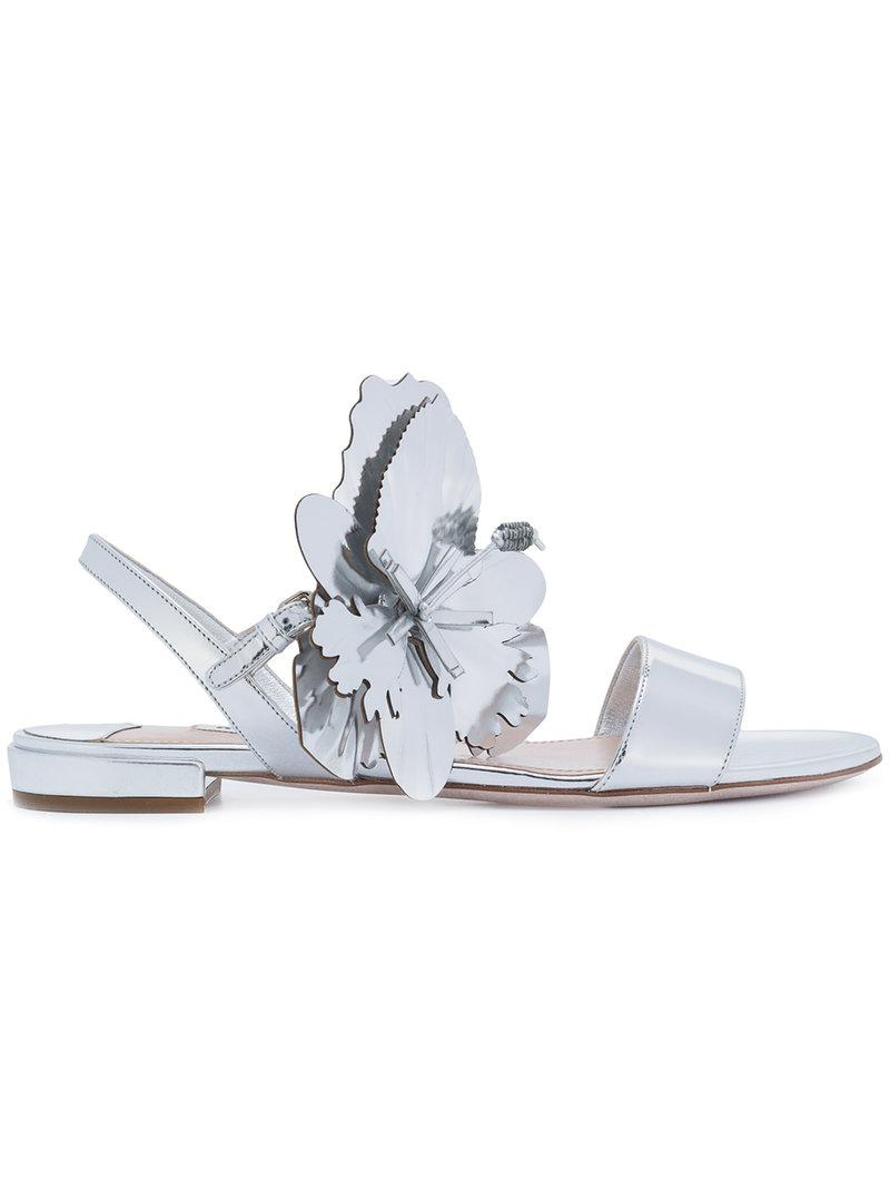oversized flower sandals - Metallic Miu Miu pmkQR8vX
