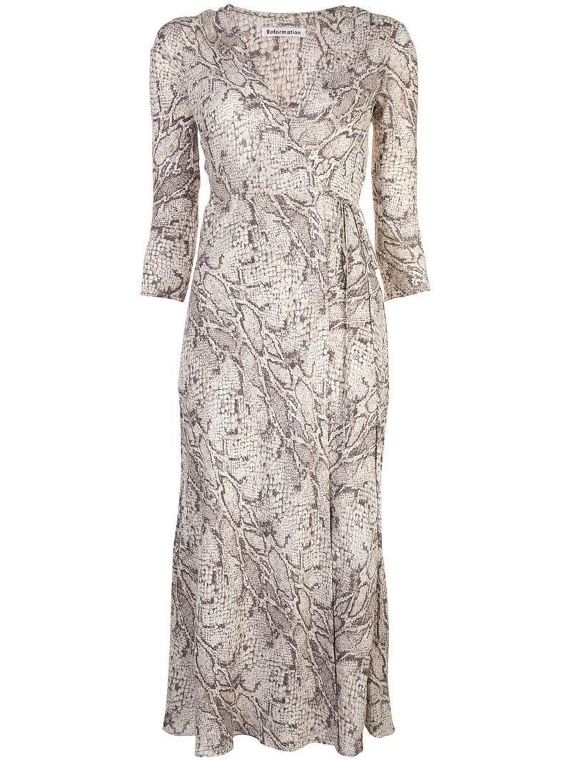cd151d6f6027 Lyst - Reformation Jaz Python-print Dress