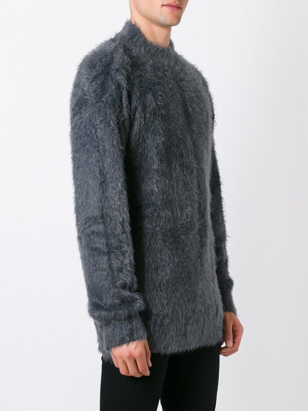 Faith connexion Fuzzy Sweater in Gray for Men | Lyst