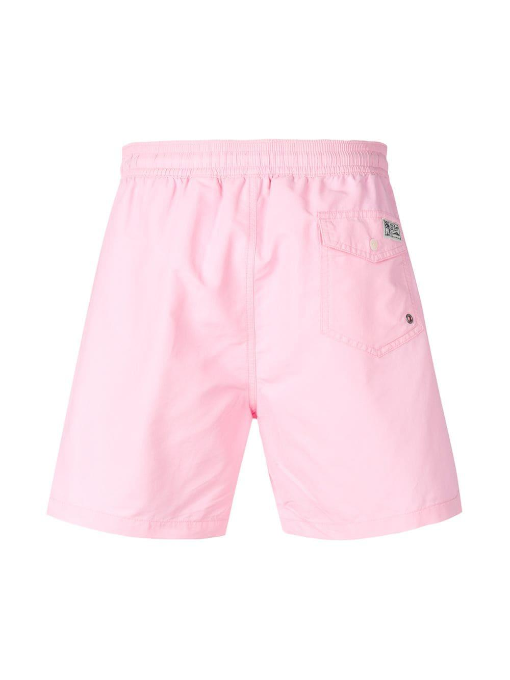 ca6157c5cd Lyst - Polo Ralph Lauren Logo Swimming Shorts in Pink for Men