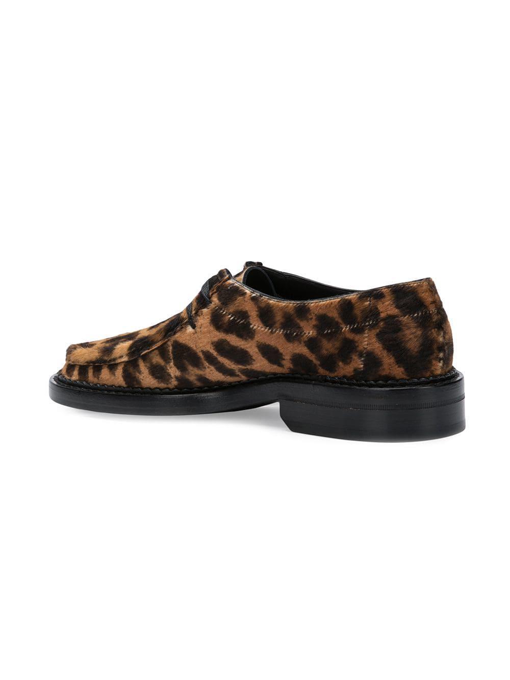 425d4afe273 Saint Laurent Leopard Print Loafers in Brown for Men - Lyst