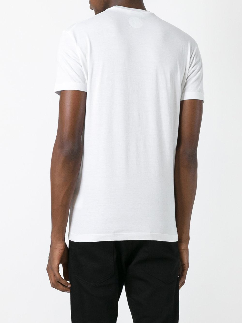 Lyst dsquared vintage embroidered logo t shirt in white for Embroidered logos on shirts