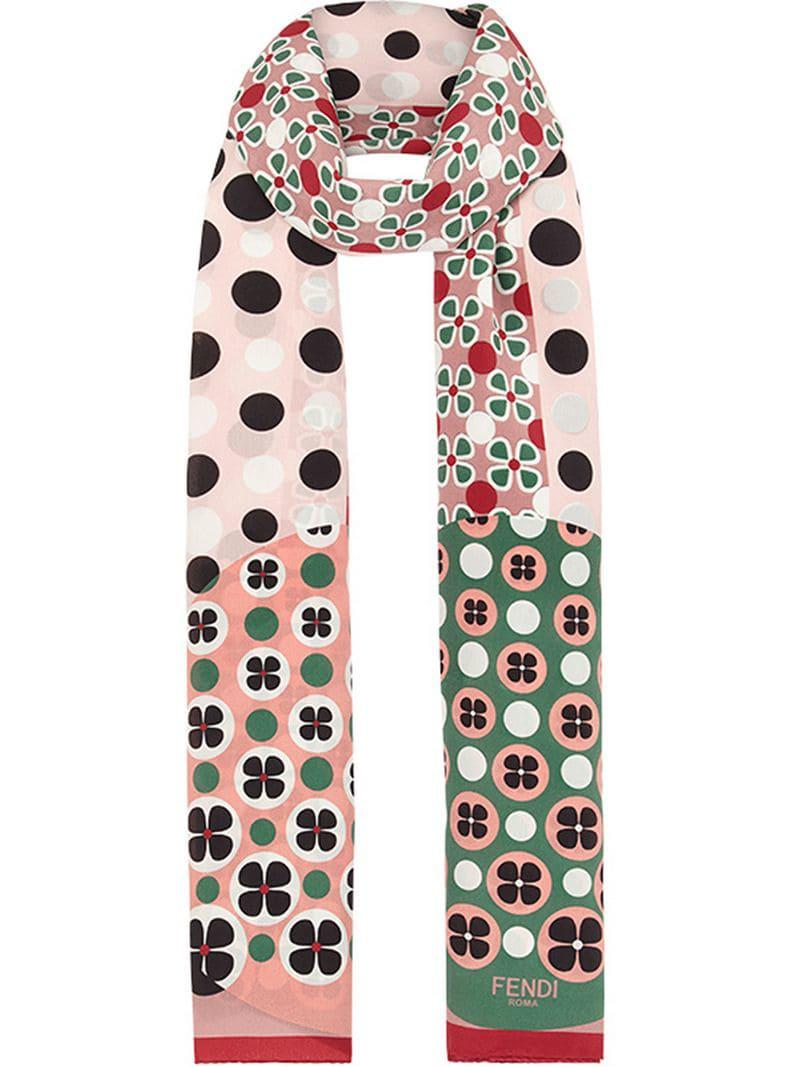 6f8714703f4 Fendi Floral Print Stole in Pink - Lyst