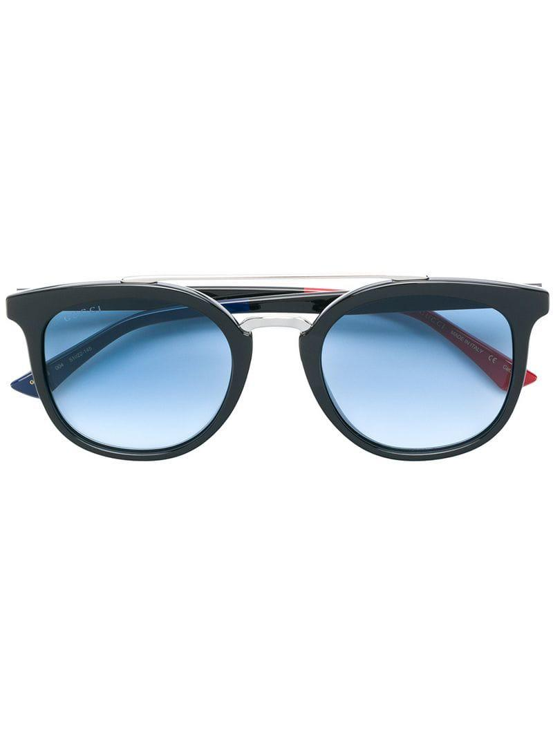 Gucci Round Frame Sunglasses in Black - Lyst 853ff7d7428