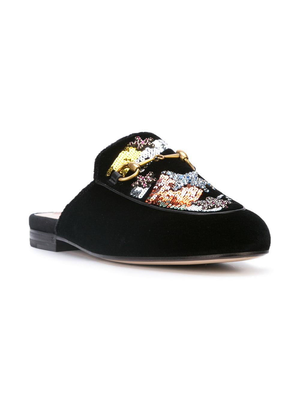 5d06f11ae04 Lyst - Gucci Princetown Embroidered Mules in Black