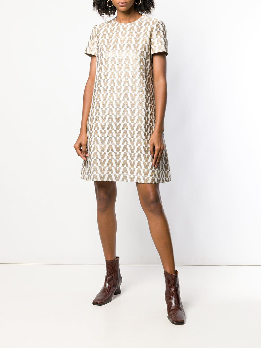 2b47bb9db83 Lyst - Valentino Optical Shift Dress in Natural
