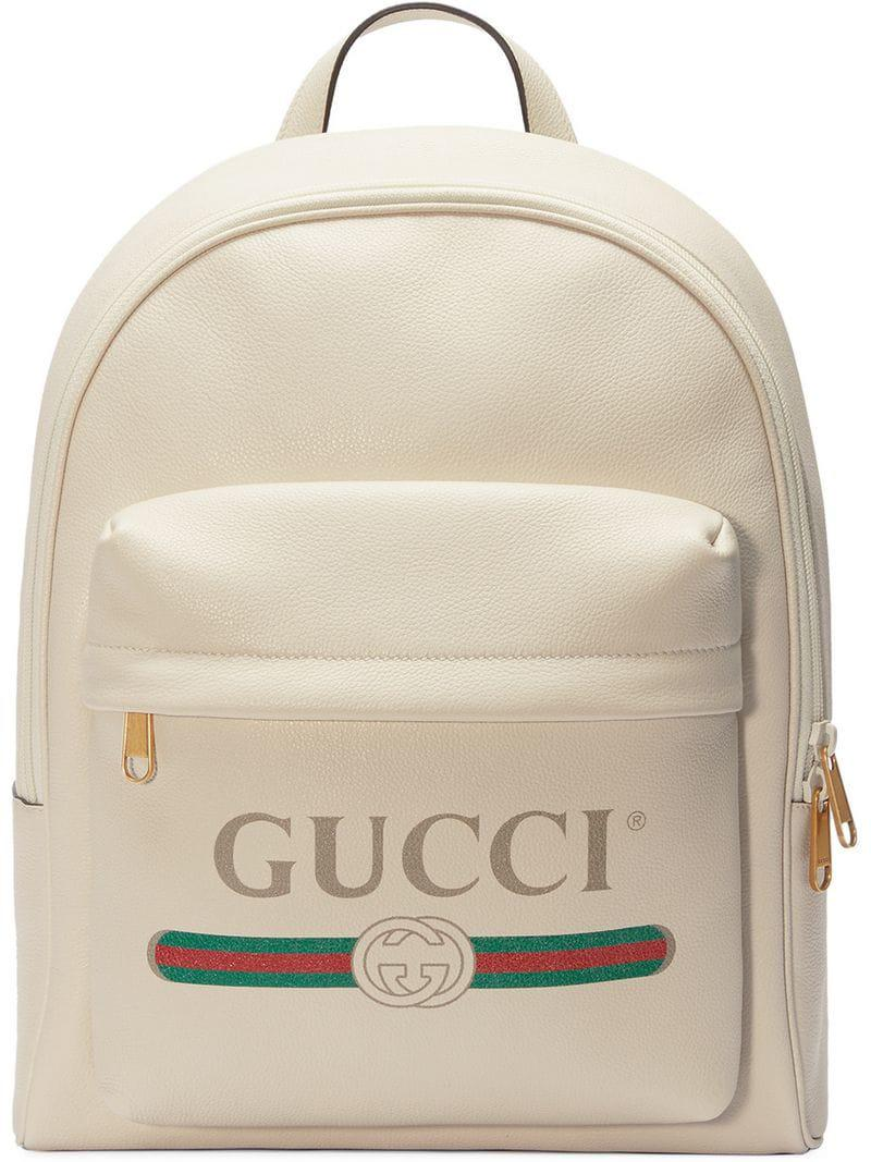 3797ee2515b Gucci - White Print Leather Backpack - Lyst. View fullscreen