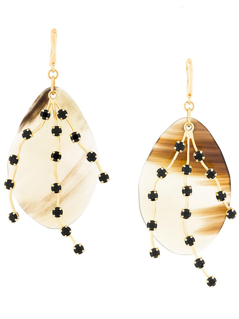Marni large gemstone pendant earrings - Metallic isbOR