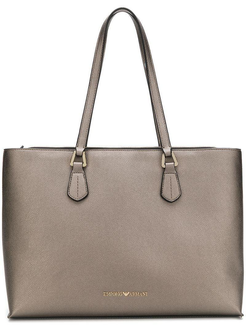 Lyst - Emporio Armani Logo Tote Bag in Metallic 897fa80b03
