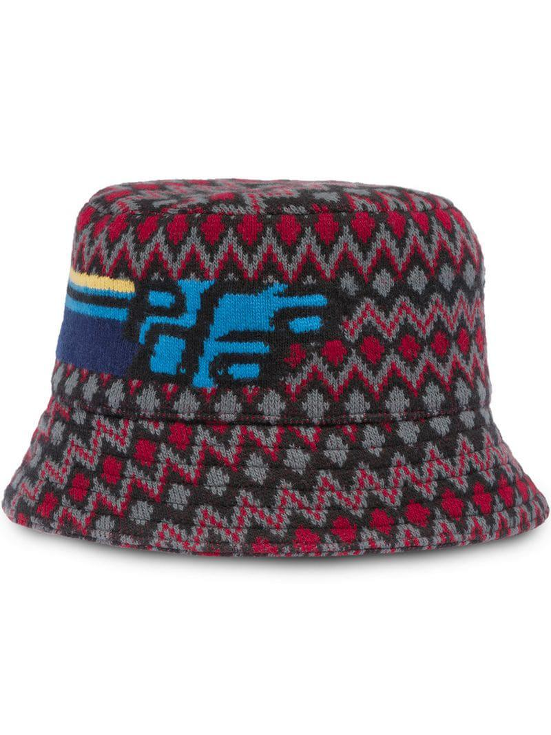 7232a07eb87 Prada Jacquard Logo Bucket Hat in Red for Men - Lyst