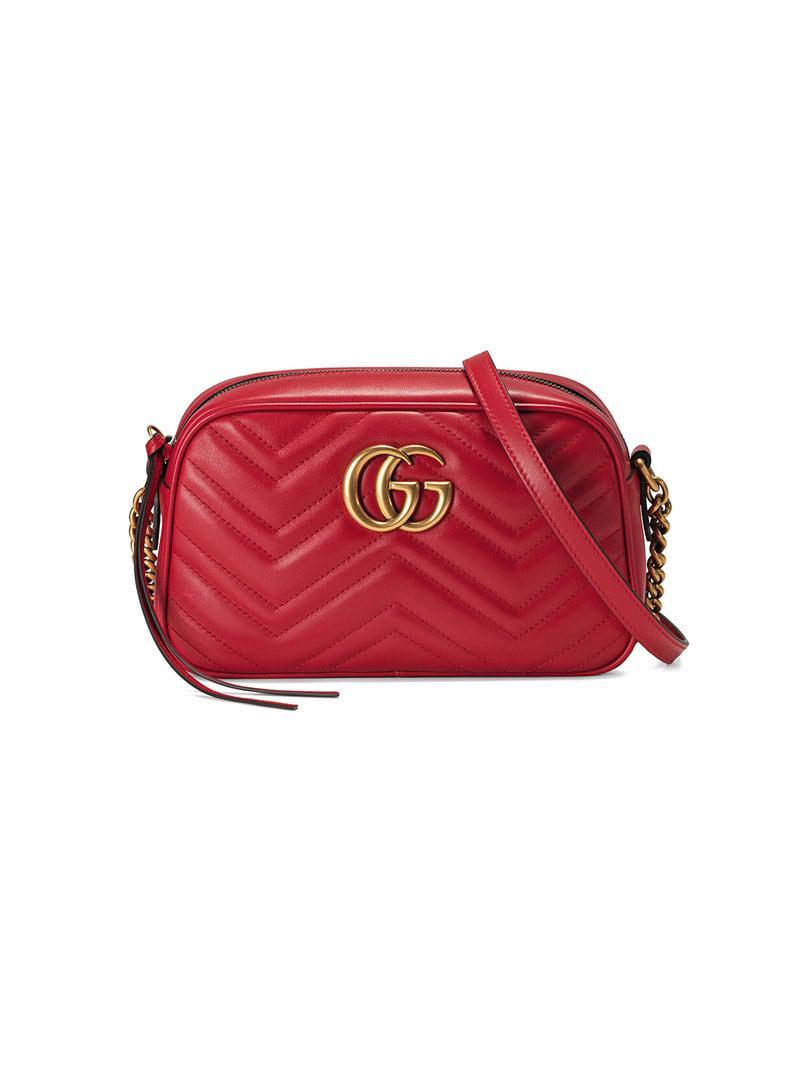 98db374c91e0 Gucci GG Marmont Small Matelassé Shoulder Bag in Red - Save 7% - Lyst