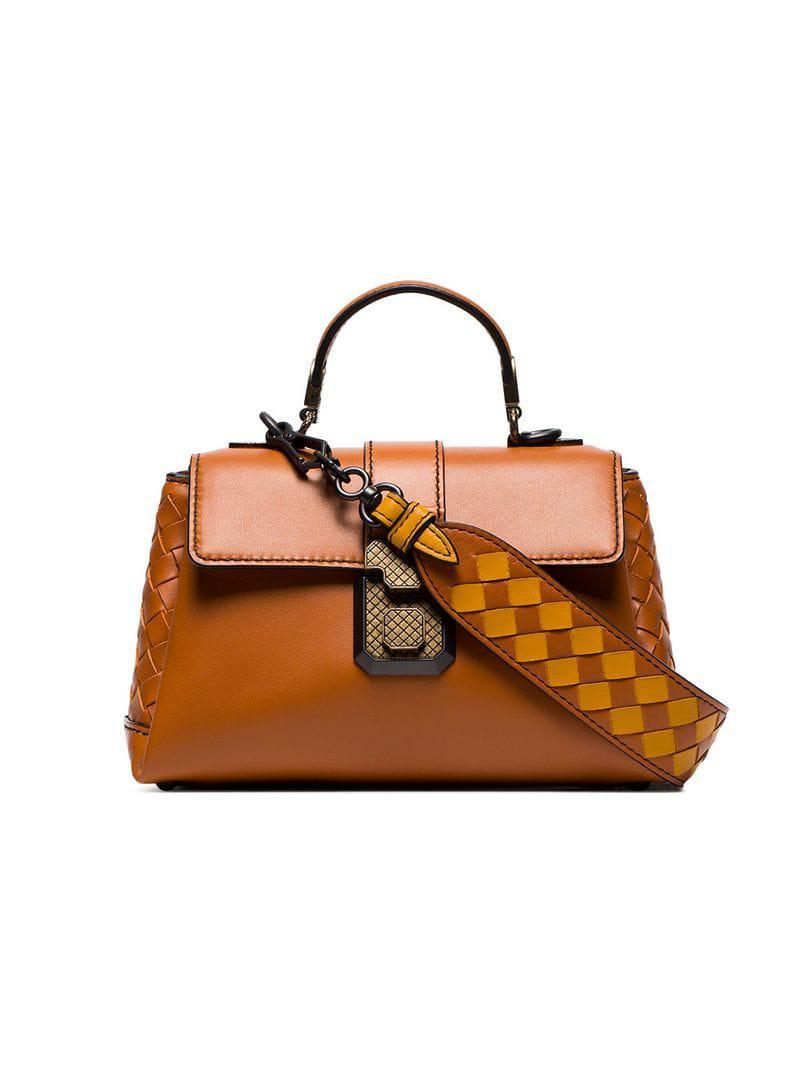 0407793bf9 Lyst - Bottega Veneta Orange Leather Mini Woven Strap Shoulder Bag ...