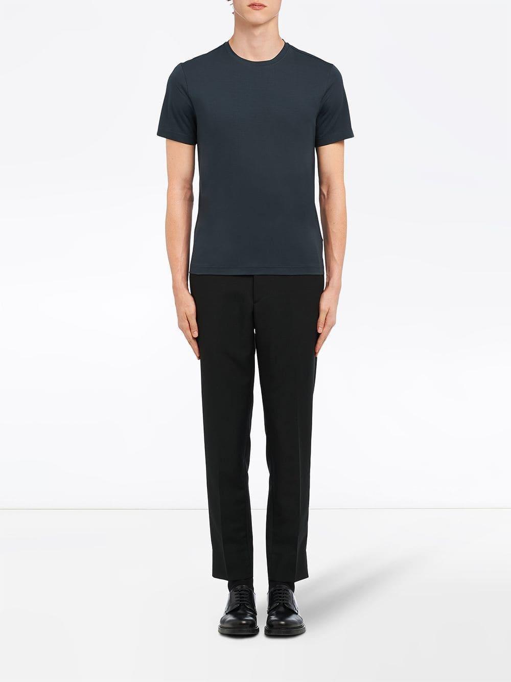 Lyst - Prada Cotton Stretch T-shirt in Blue for Men 28c16f461b035