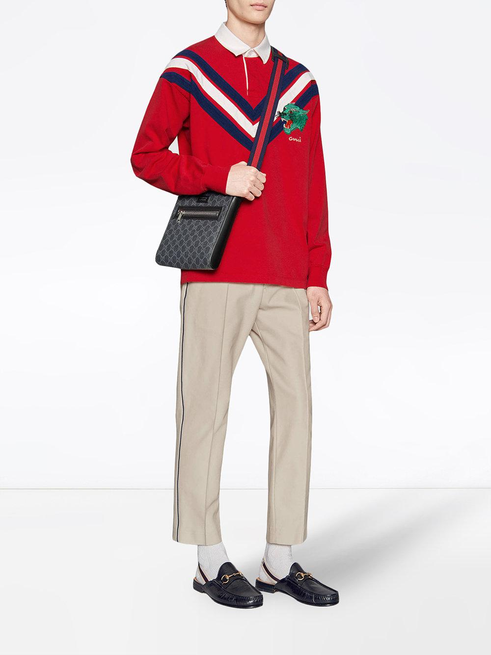 ad3e2083 Gucci - Red Chevron Polo With Panther Face for Men - Lyst. View fullscreen