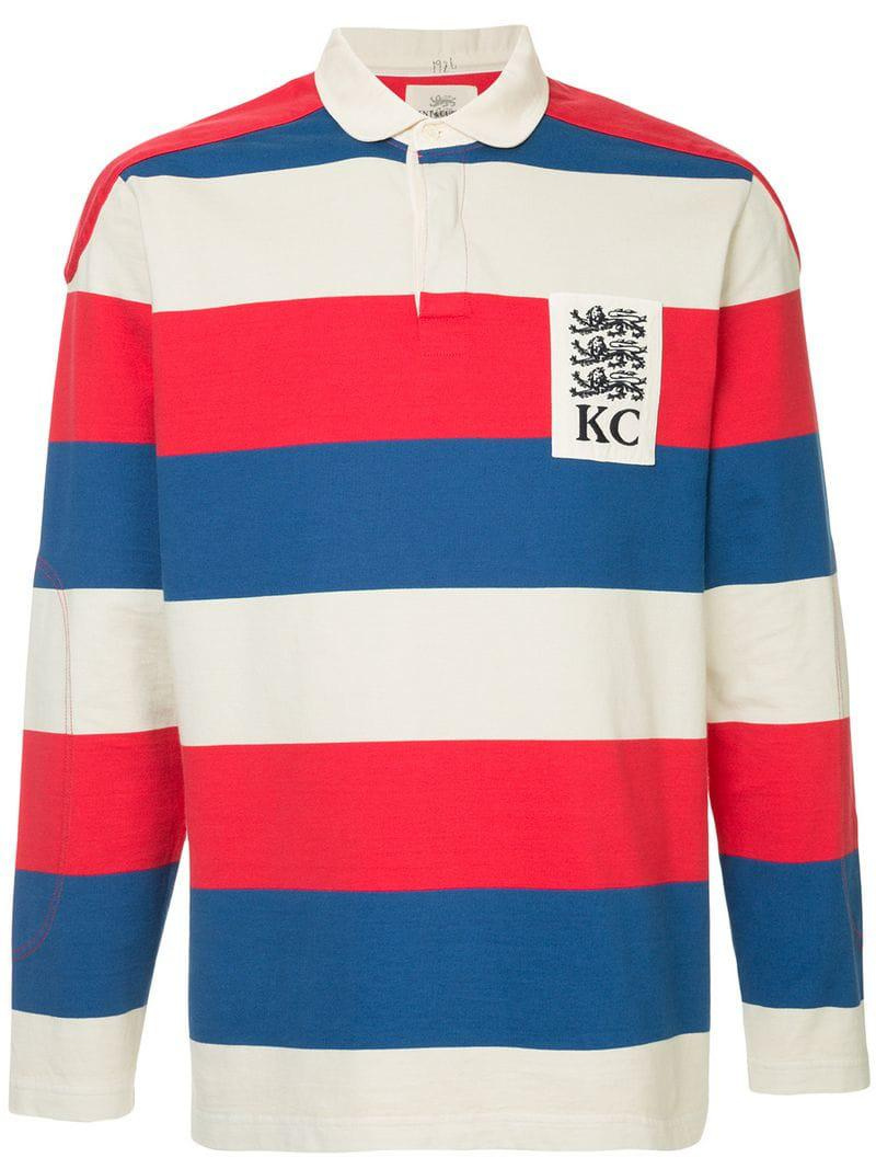 6dfc8d45008c Lyst - Kent   Curwen Striped Rugby Polo Shirt in Red for Men