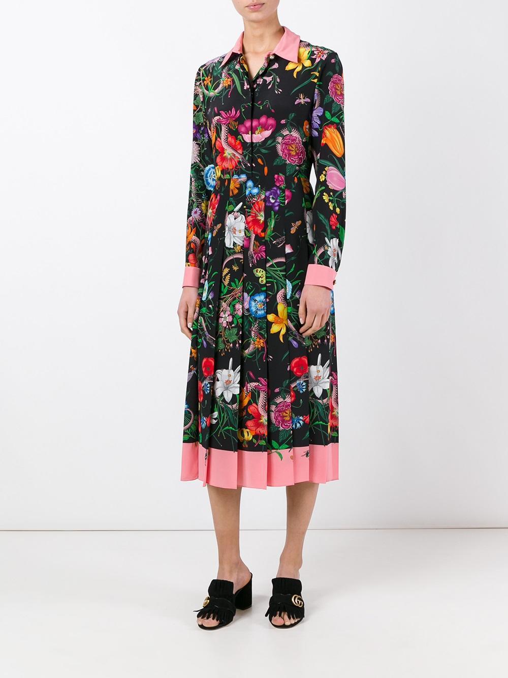 6ab5f387bc0 Gucci Flora Snake Print Silk Dress - Lyst