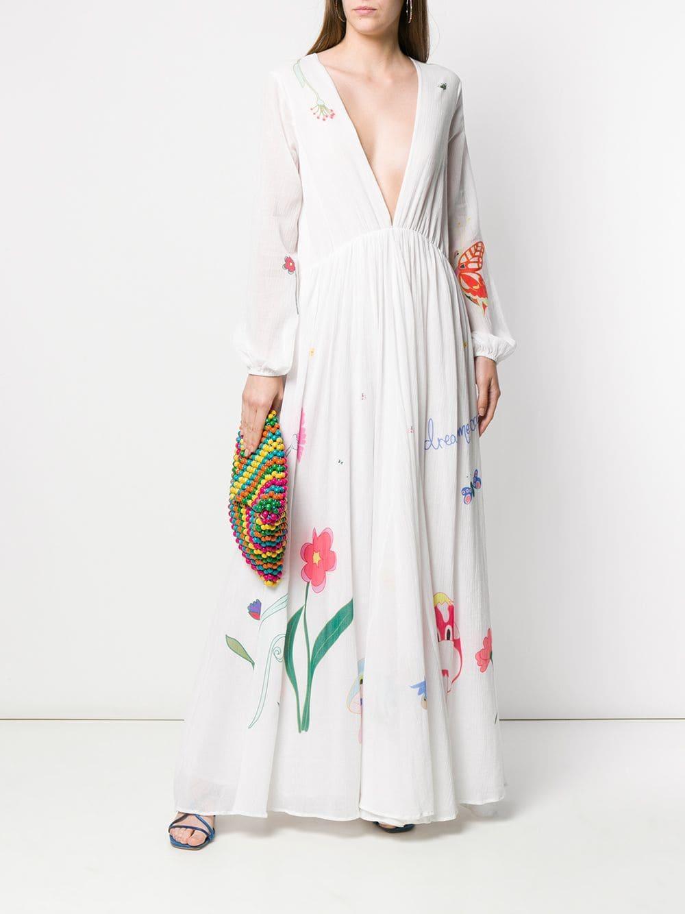 Mira Dress Fairy Mikati Print Lyst White In Tale Long TKJ35clF1u