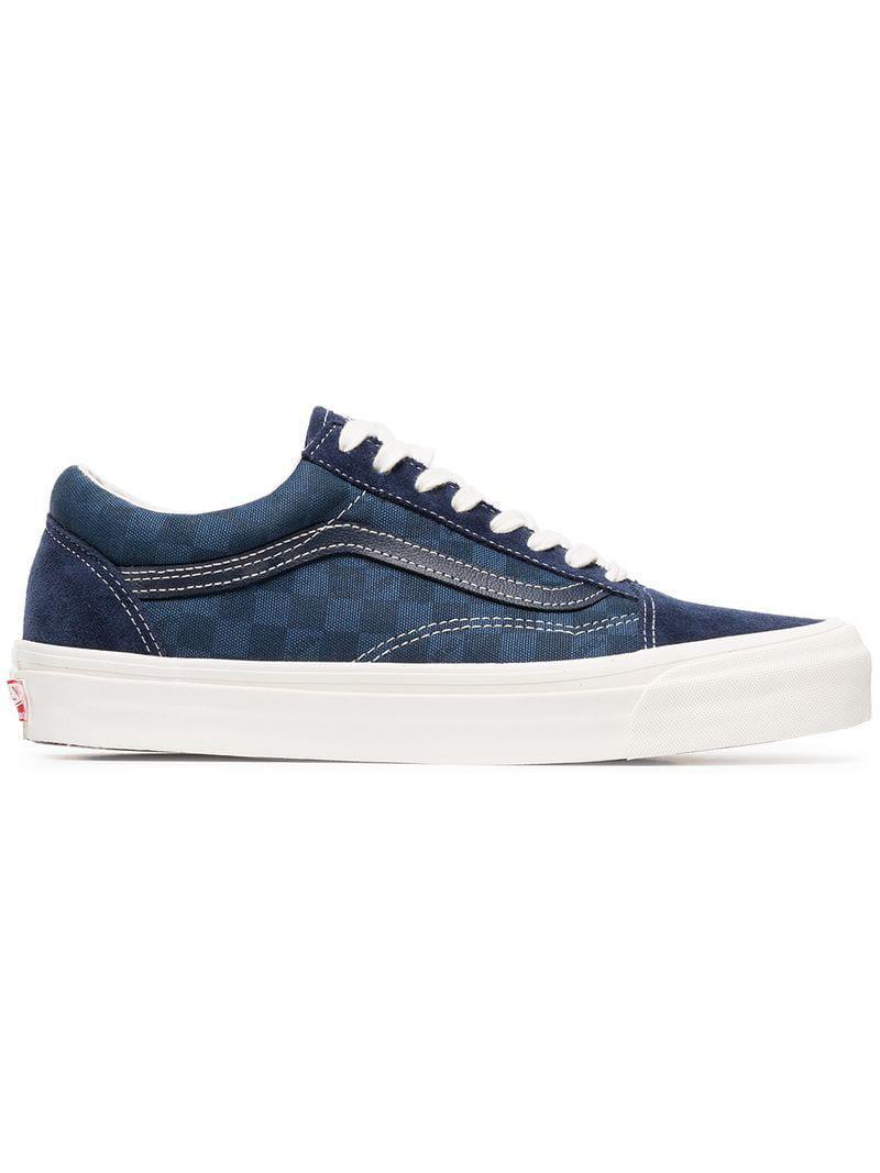 Vans Blue Og Old Skool Suede Check Cotton Sneakers in Blue for Men ... bf5604a96