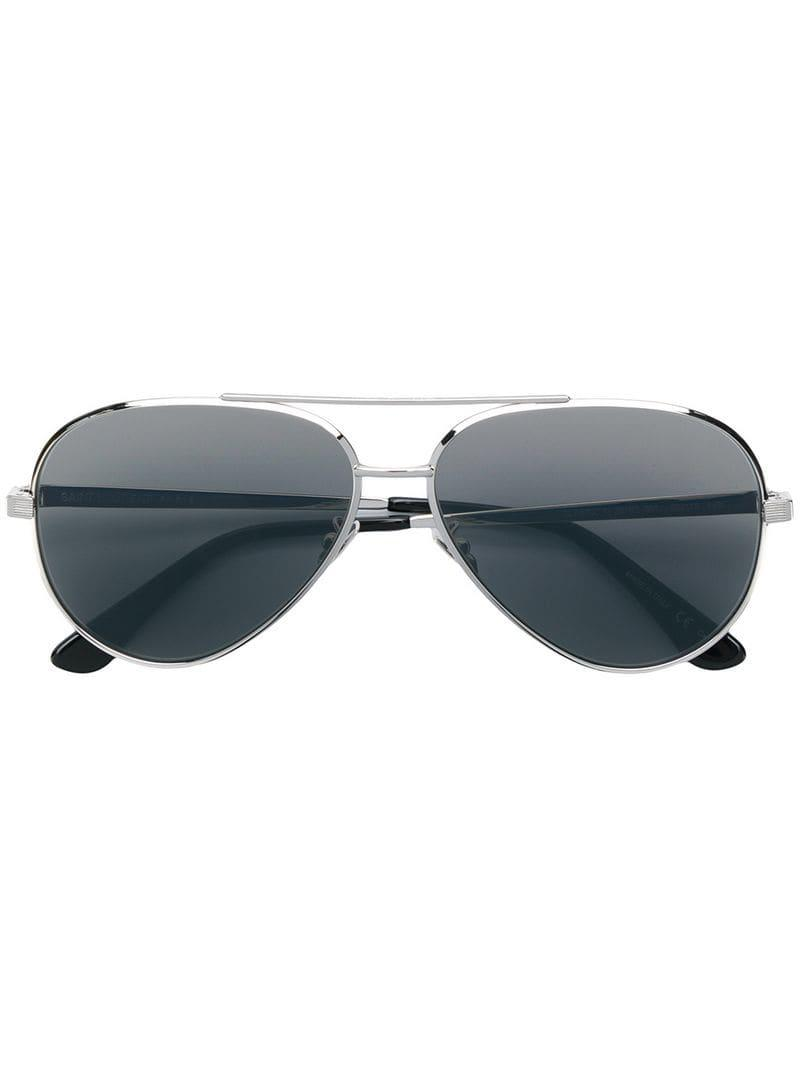 a5472c9846e Saint Laurent Classic 11 Zero Sunglasses in Metallic - Lyst
