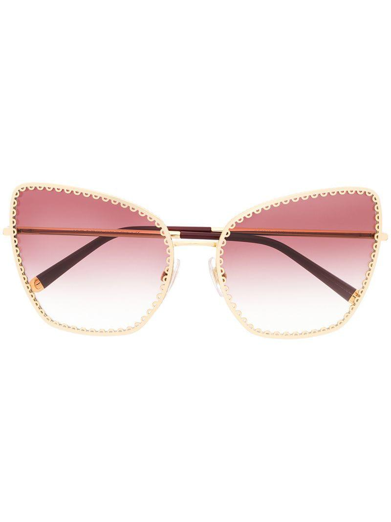 87d3d18c3ac1 Lyst - Dolce   Gabbana Oversized Cat-eye Sunglasses in Metallic