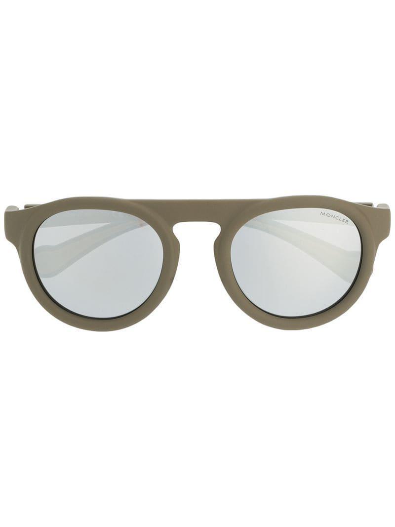 774e553402 Moncler - Green Round Frame Sunglasses - Lyst. View fullscreen