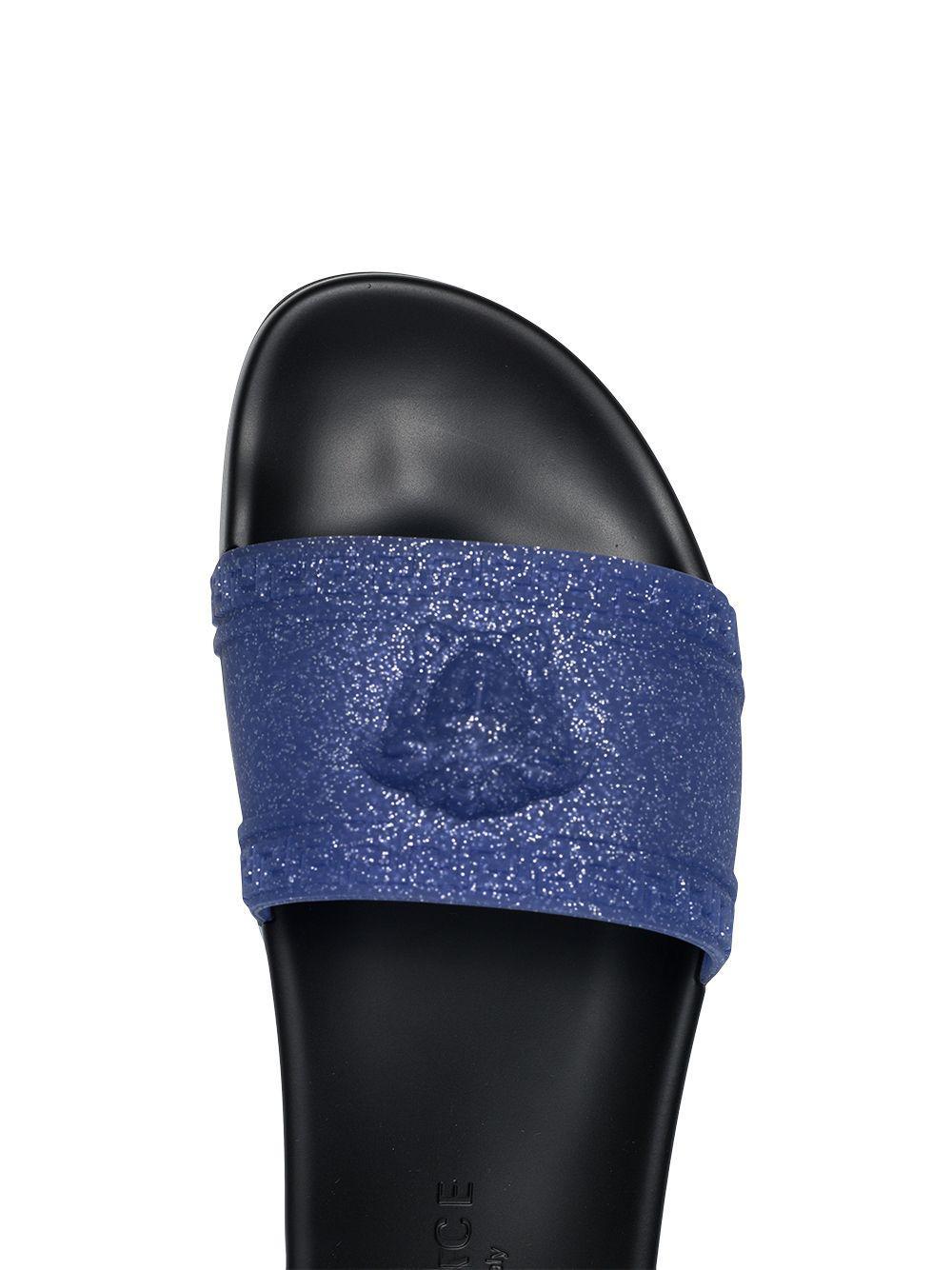 111f8fe3ca9e Versace - Blue Glittered Medusa Logo Slides for Men - Lyst. View fullscreen