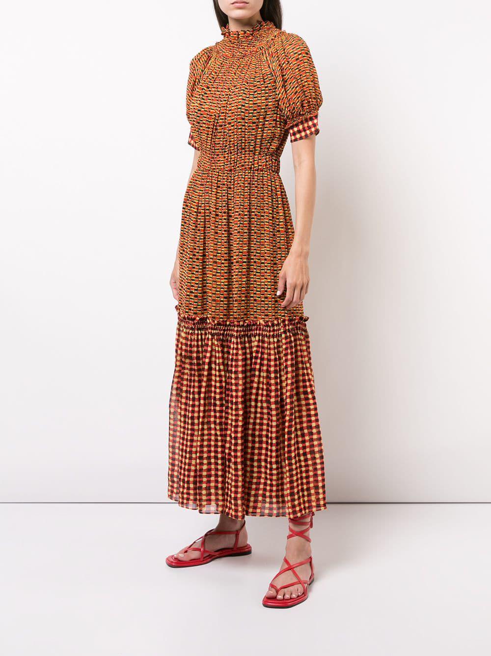 81fe2249016ea Lyst - Proenza Schouler Crepe Chiffon Tiered Dress in Yellow