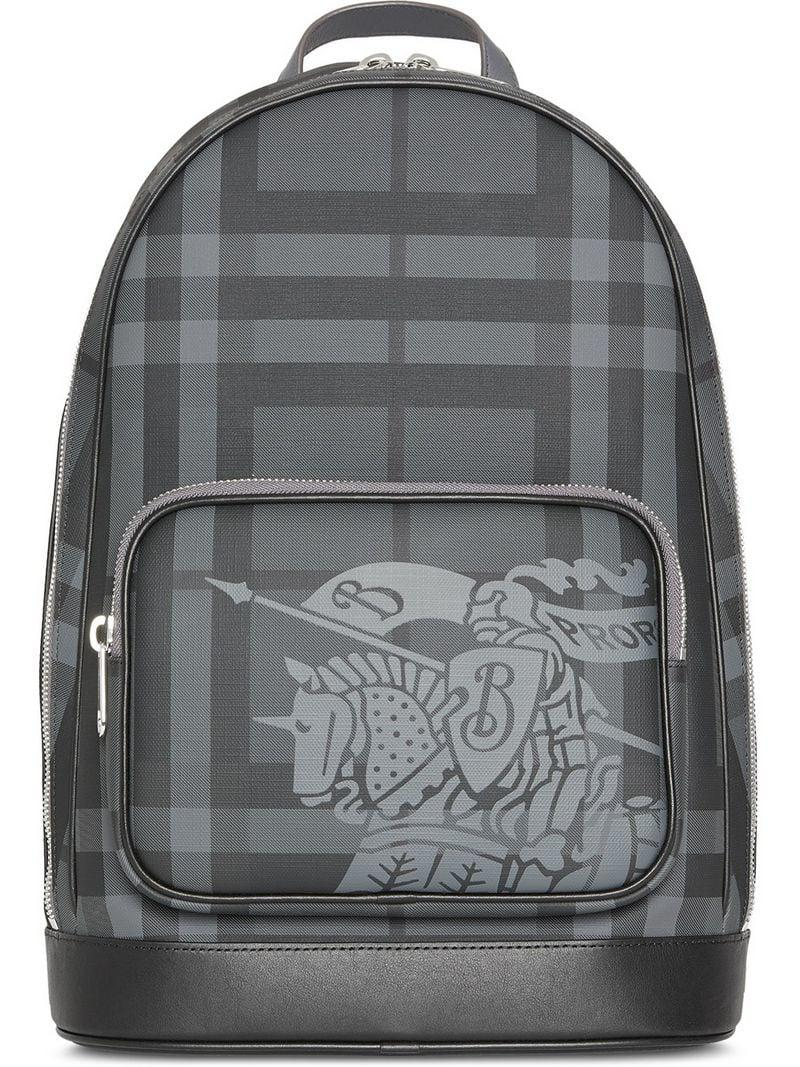 a60f4995a02b Lyst - Burberry Ekd London Check And Leather Backpack in Black for Men