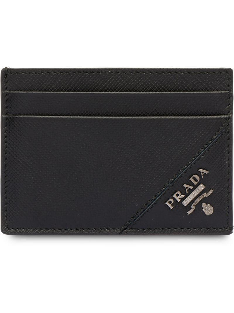 3dec226dc04206 Prada - Black Saffiano Leather Card Holder for Men - Lyst. View fullscreen