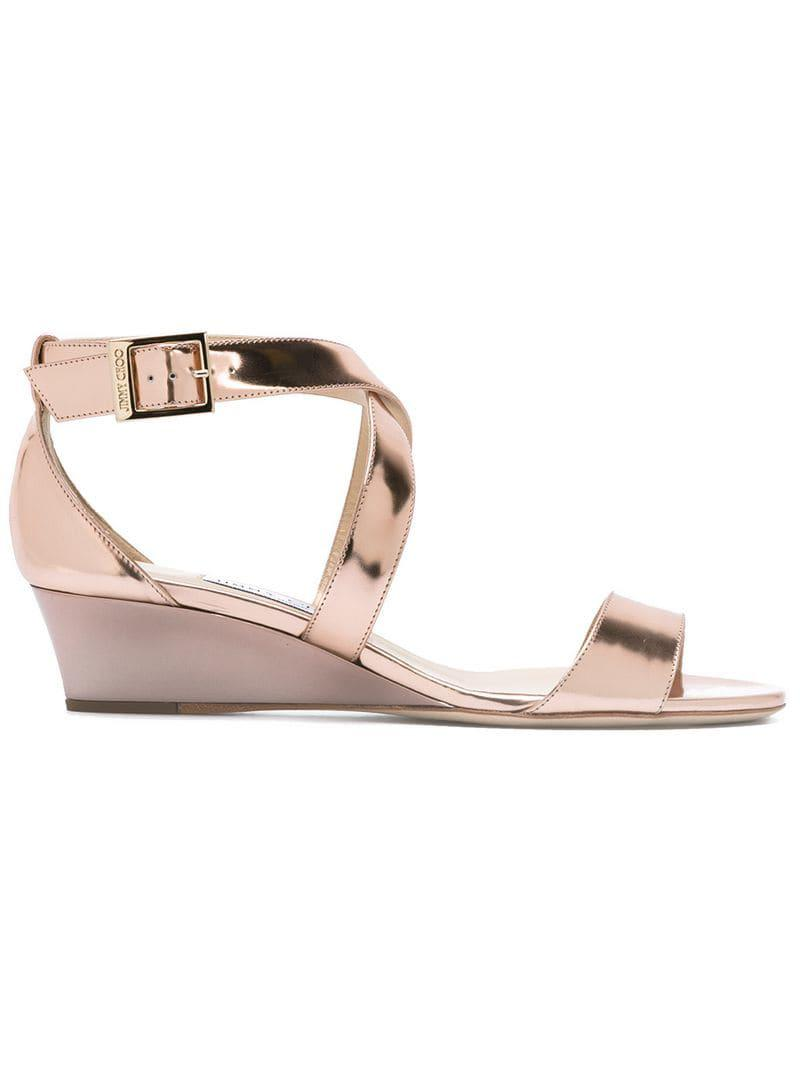 5e1ddfe30ad0 Jimmy Choo - Pink - Wedge Sandals - Women - Leather patent Leather - 36.  View fullscreen