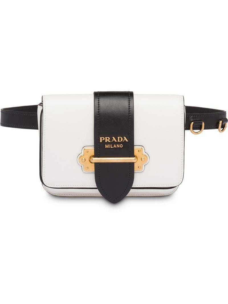 d6e32ae1b3753 Lyst - Prada Cahier Belt Bag in White