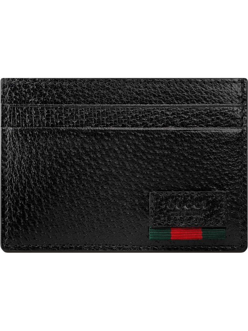 1d030b01ea6f Lyst - Gucci Leather Money Clip With Web in Black for Men - Save 6%