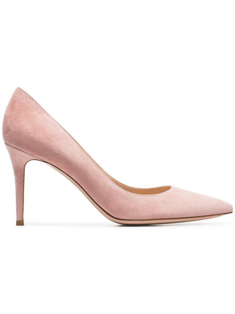 d0ac41f832bf Lyst - Gianvito Rossi Nude 85 Suede Leather Pumps in Pink