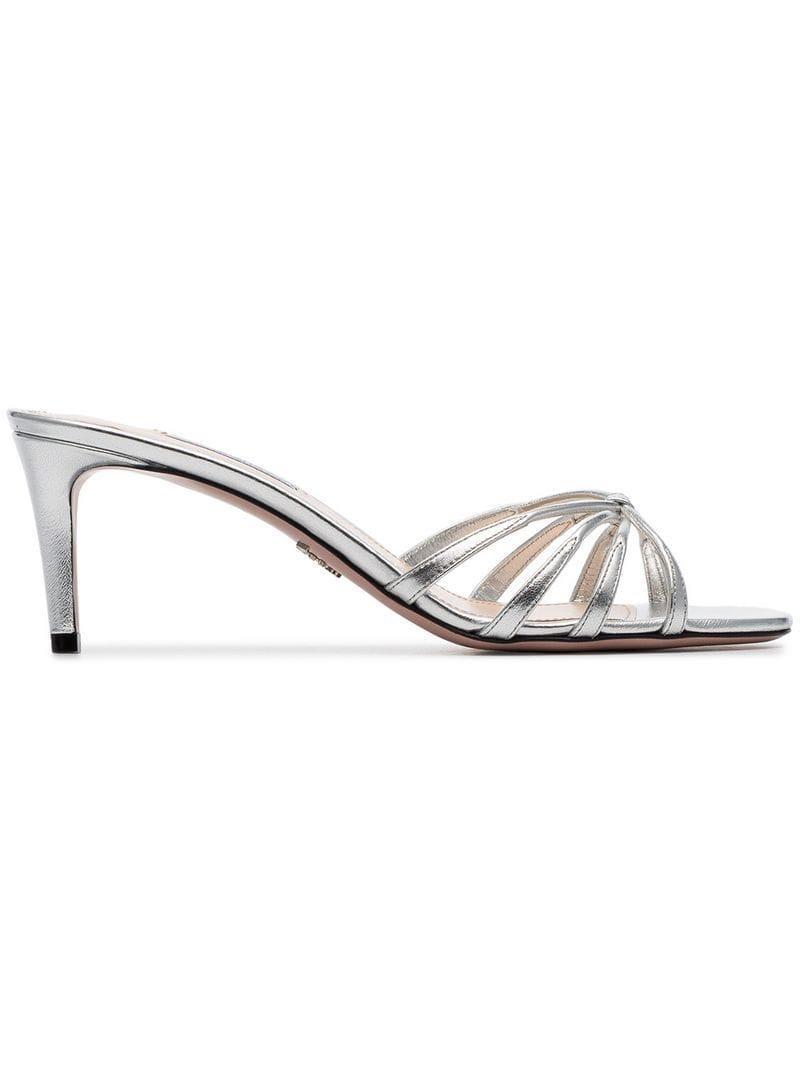 3e4aa40cd3c Prada. Women s Silver Metallic 65 Criss-cross Strap Leather Mule Sandals
