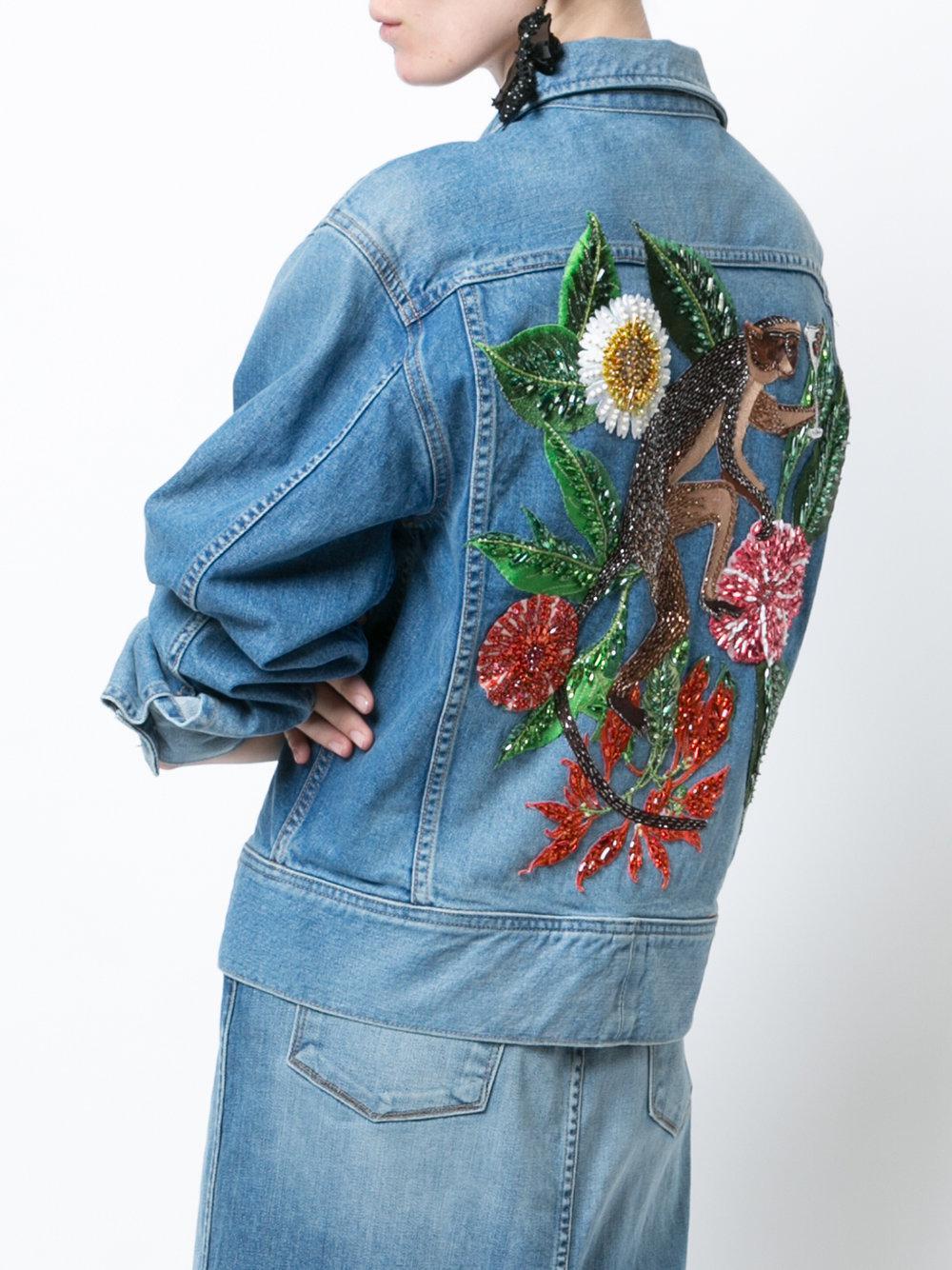 bien pas cher disponible professionnel de la vente à chaud Veste en jean brodée au dos Oscar de la Renta en coloris Blue